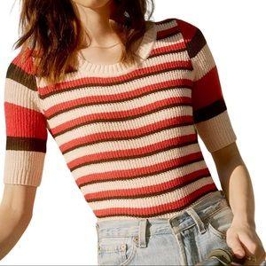 BB Dakota Striped Short Sleeve Ribbed Knit Sweater